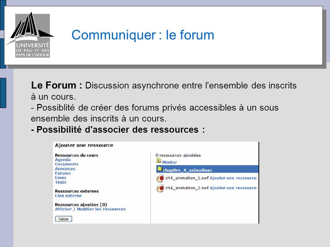 Communiquer : le forum