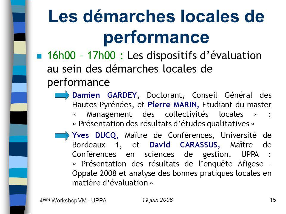 Les démarches locales de performance