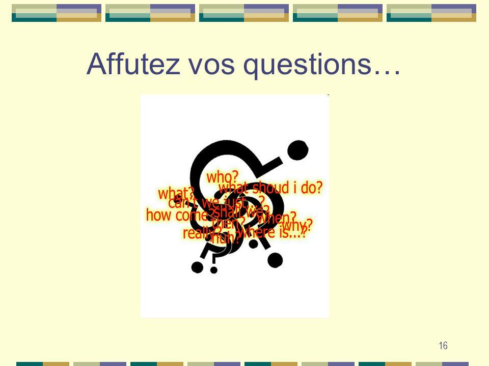 Affutez vos questions…