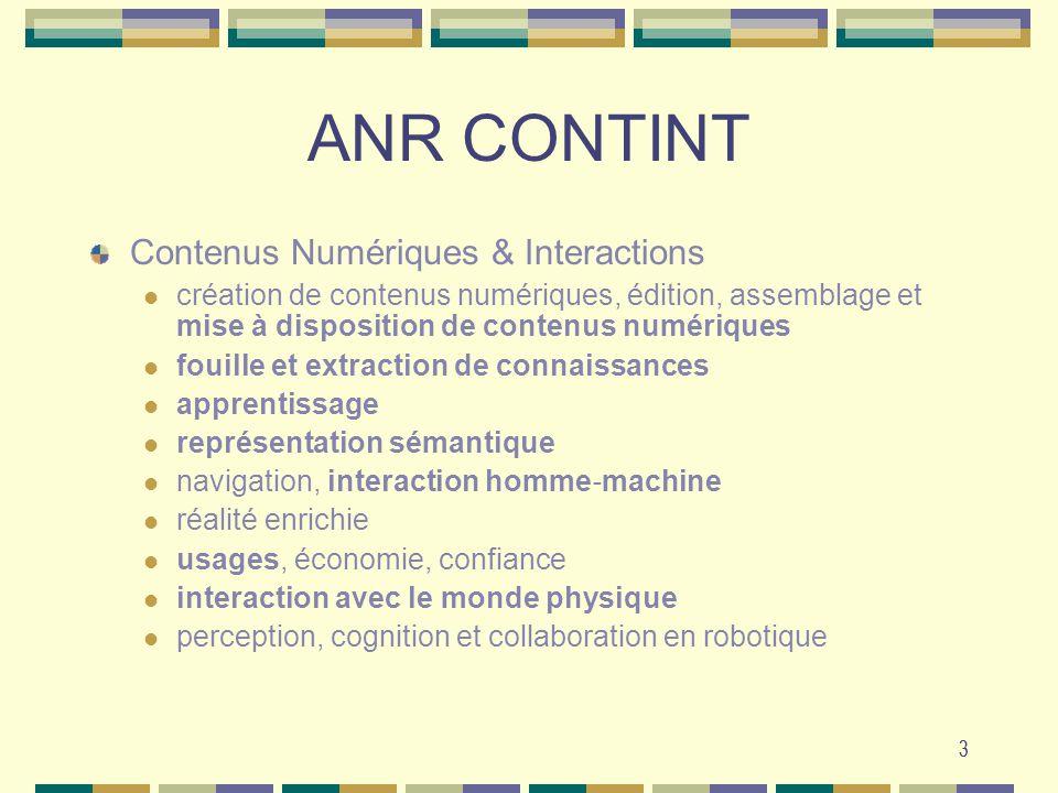 ANR CONTINT Contenus Numériques & Interactions