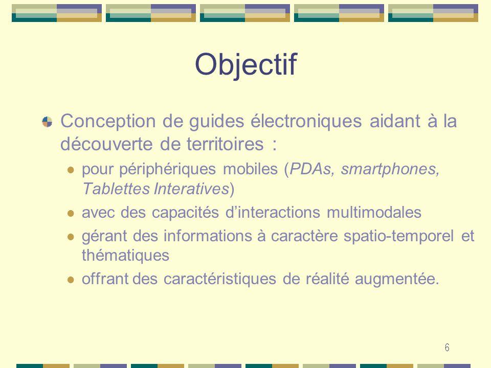 Objectif Conception de guides électroniques aidant à la découverte de territoires :