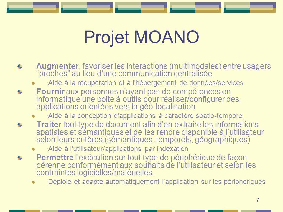 Projet MOANO Augmenter, favoriser les interactions (multimodales) entre usagers proches au lieu d'une communication centralisée.