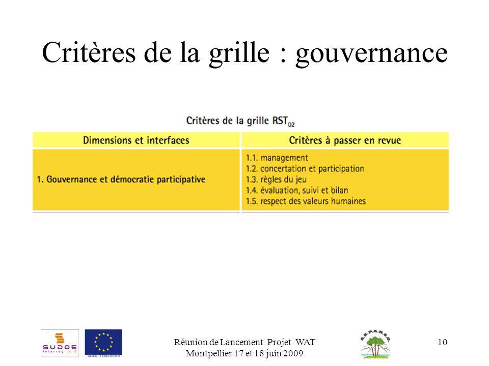 Critères de la grille : gouvernance