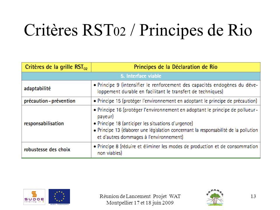 Critères RST02 / Principes de Rio