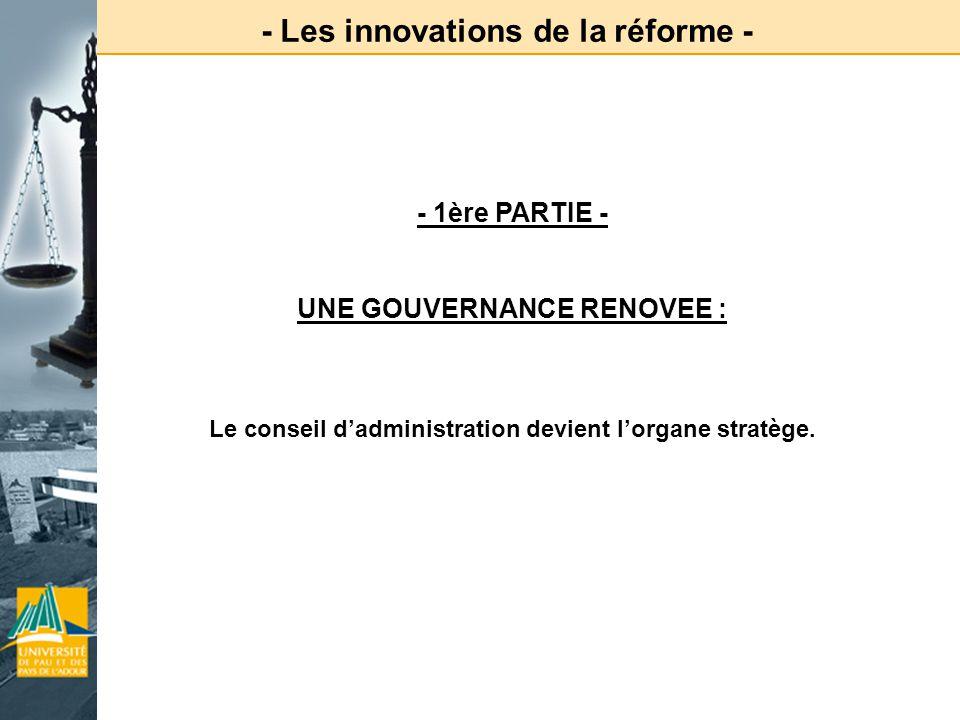 - Les innovations de la réforme -