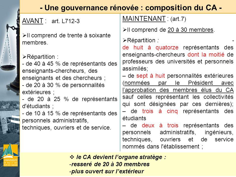 - Une gouvernance rénovée : composition du CA -