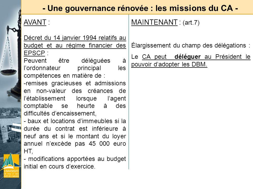 - Une gouvernance rénovée : les missions du CA -