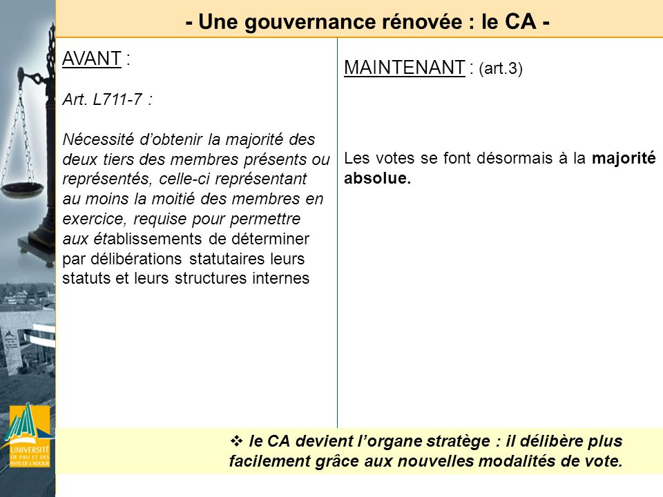 - Une gouvernance rénovée : le CA -