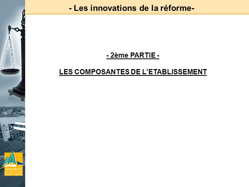 - Les innovations de la réforme- LES COMPOSANTES DE L'ETABLISSEMENT