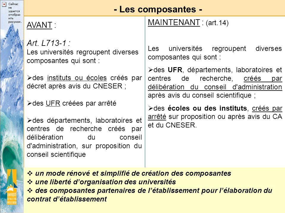 - Les composantes - MAINTENANT : (art.14) AVANT : Art. L713-1 :