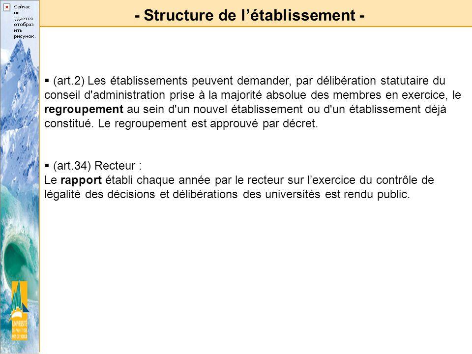 - Structure de l'établissement -