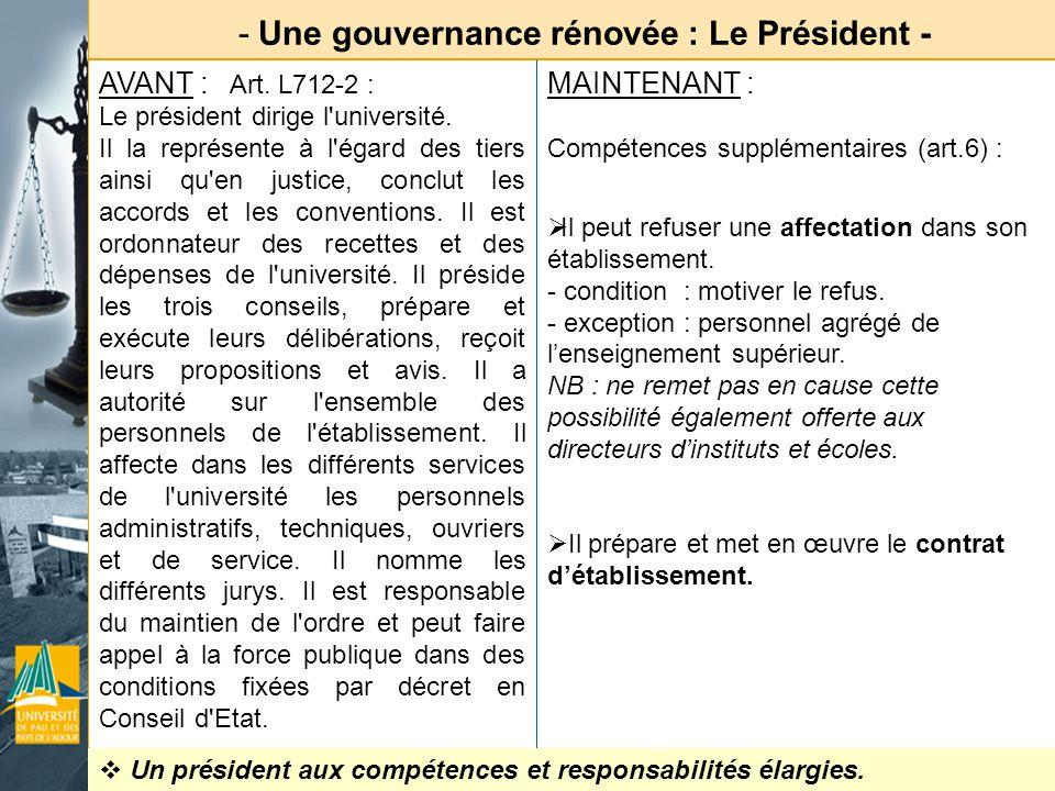 Une gouvernance rénovée : Le Président -