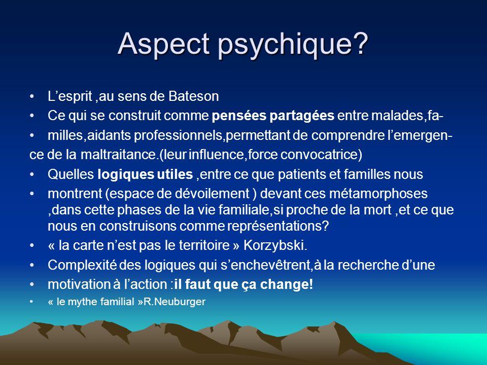 Aspect psychique L'esprit ,au sens de Bateson