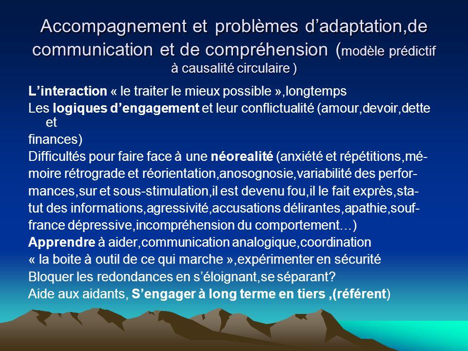 Accompagnement et problèmes d'adaptation,de communication et de compréhension (modèle prédictif à causalité circulaire )