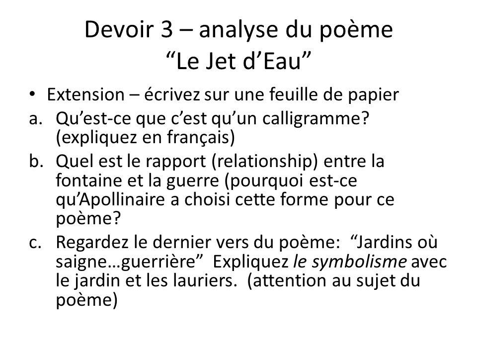 Devoir 3 – analyse du poème Le Jet d'Eau