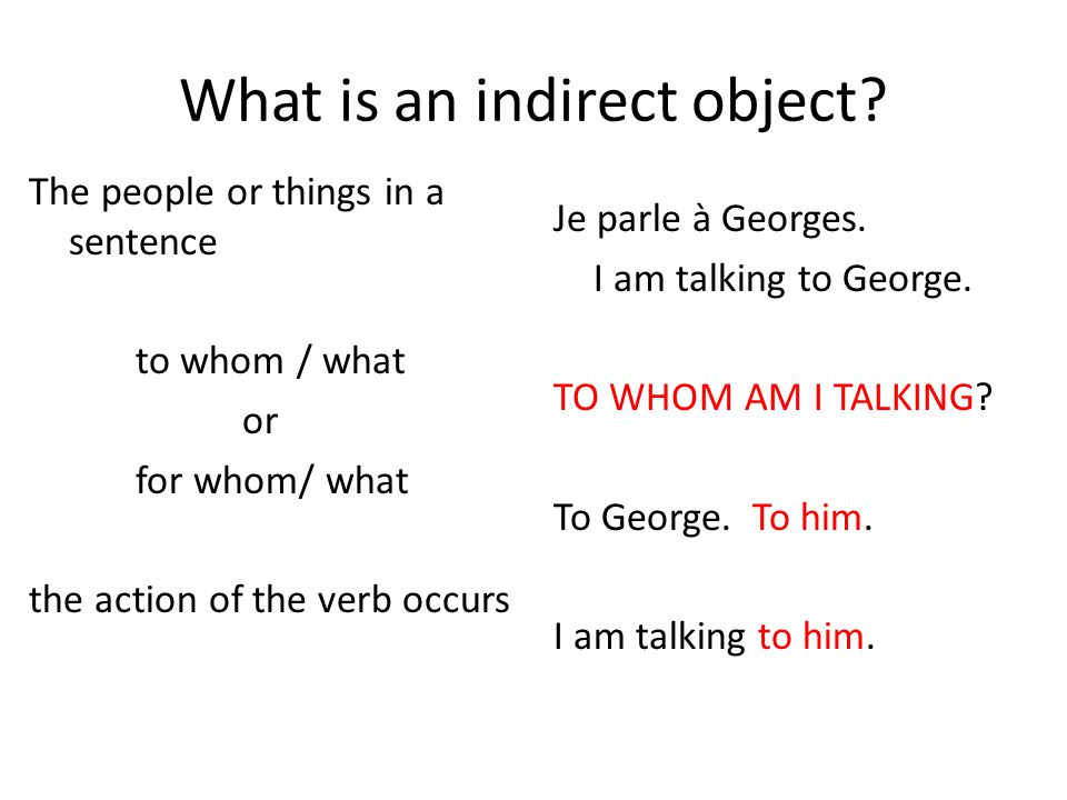 What is an indirect object
