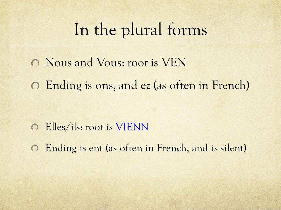In the plural forms Nous and Vous: root is VEN