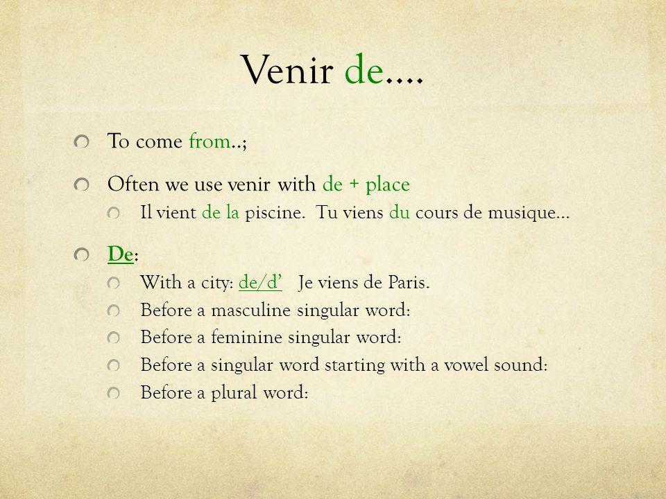 Venir de…. To come from..; Often we use venir with de + place De: