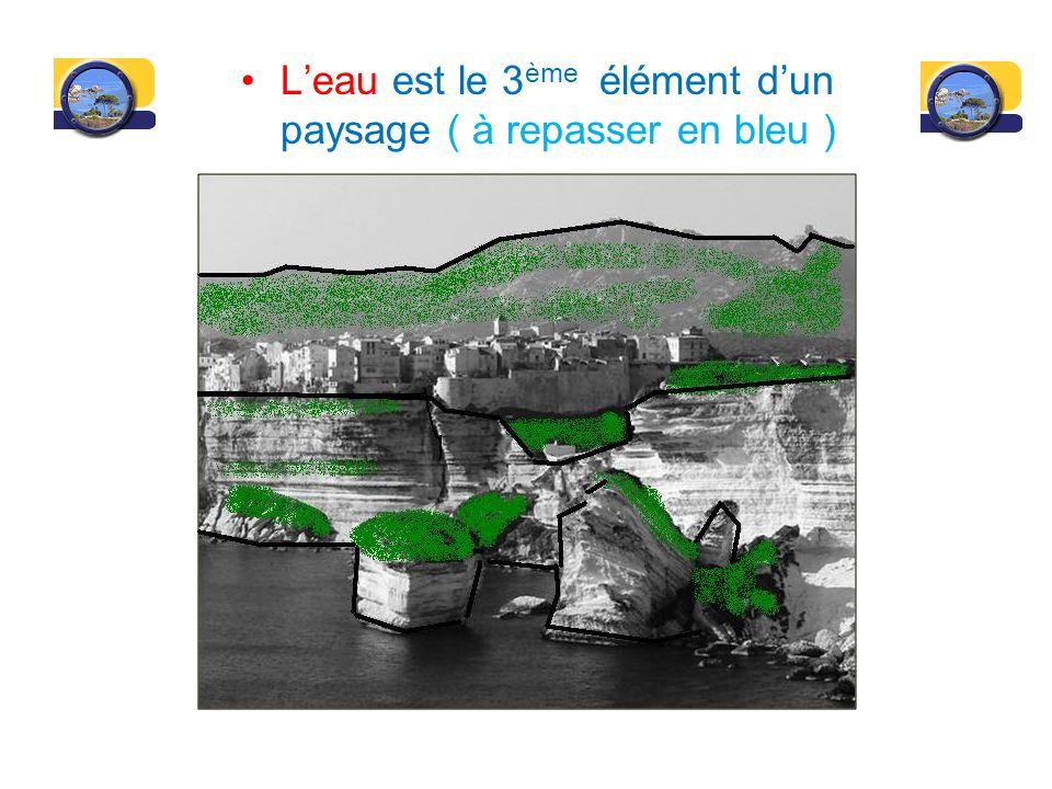 L'eau est le 3ème élément d'un paysage ( à repasser en bleu )