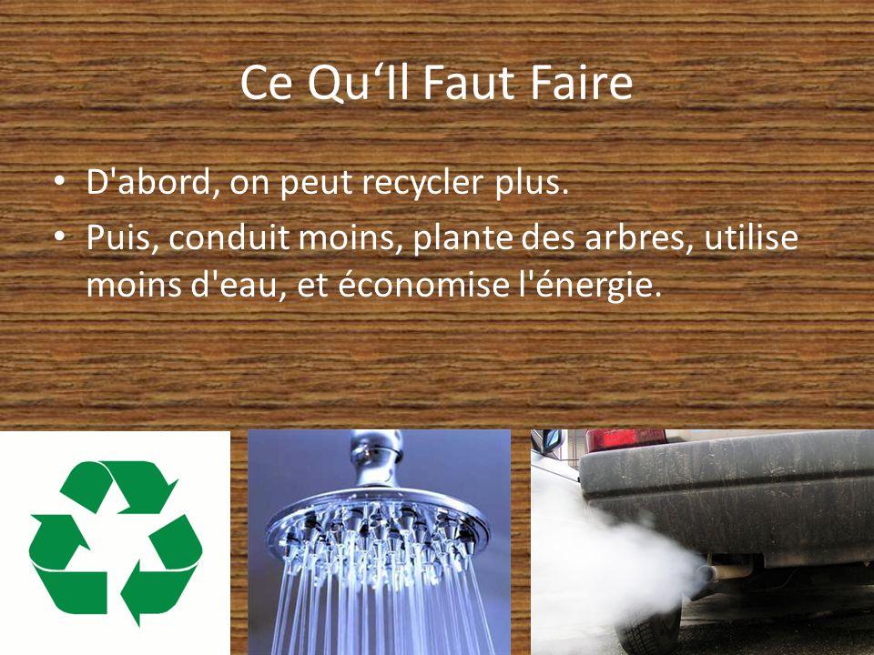 Ce Qu'Il Faut Faire D abord, on peut recycler plus.