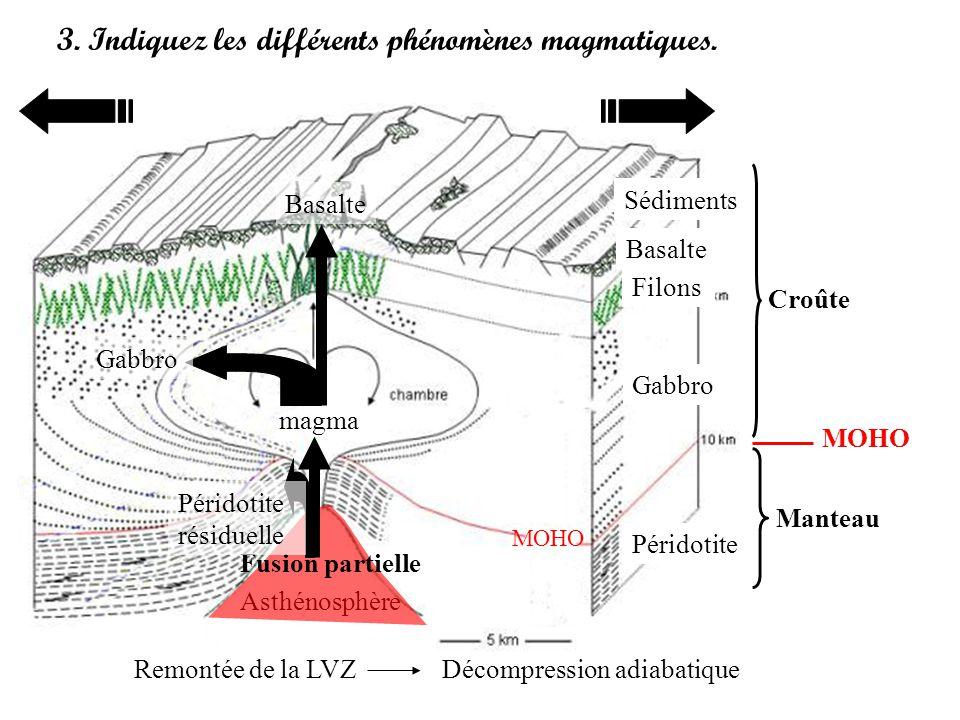 3. Indiquez les différents phénomènes magmatiques.