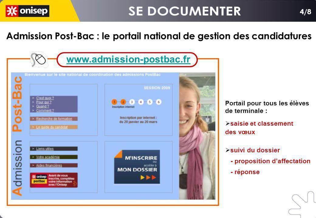 SE DOCUMENTER www.admission-postbac.fr