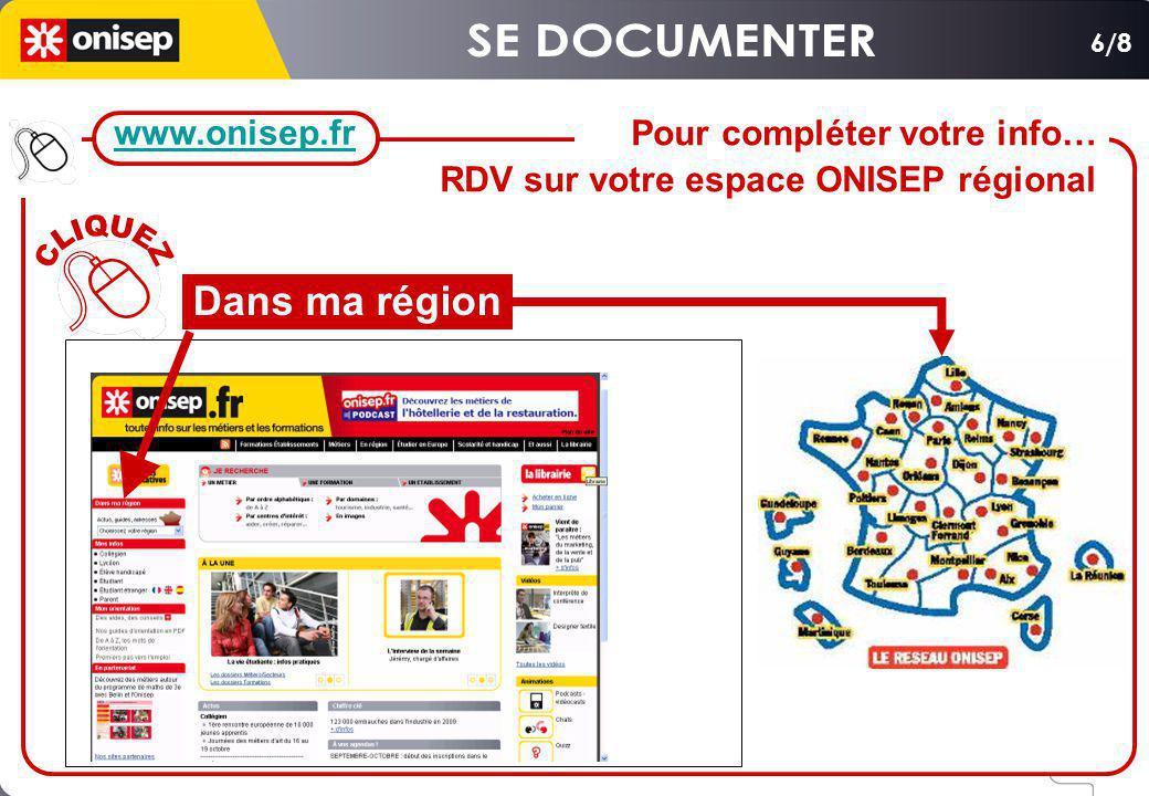 SE DOCUMENTER CLIQUEZ Dans ma région www.onisep.fr