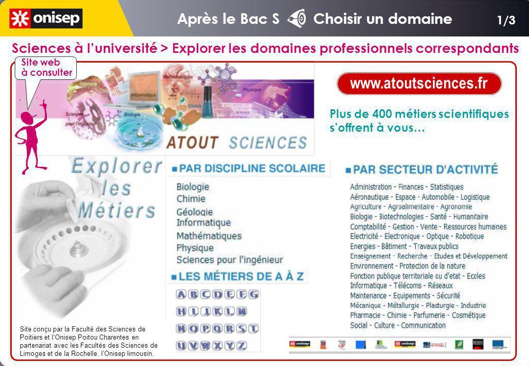 www.atoutsciences.fr Après le Bac S Choisir un domaine