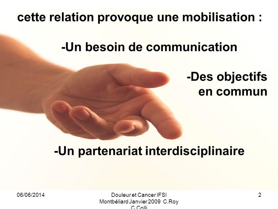 -Un besoin de communication -Un partenariat interdisciplinaire