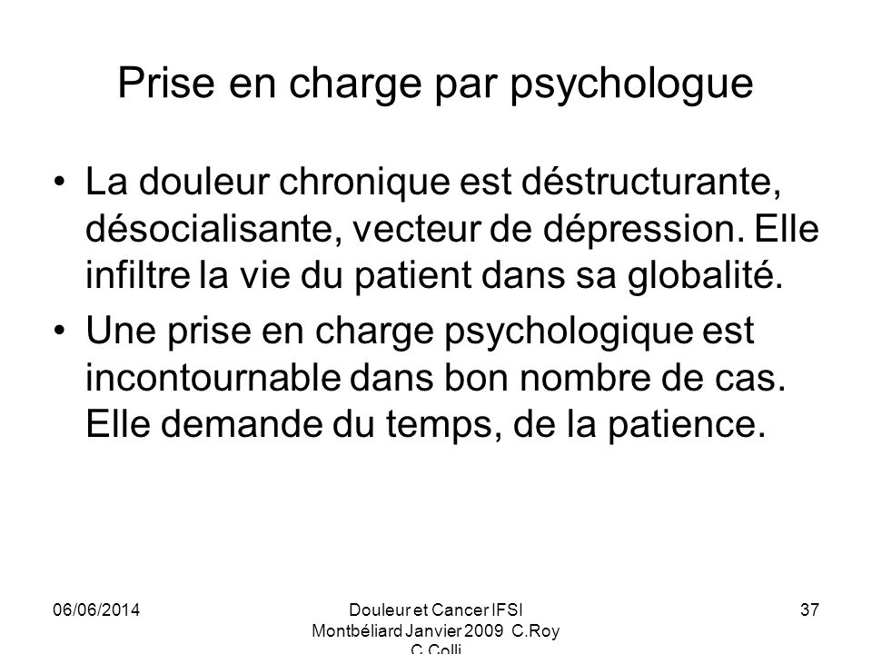 Prise en charge par psychologue