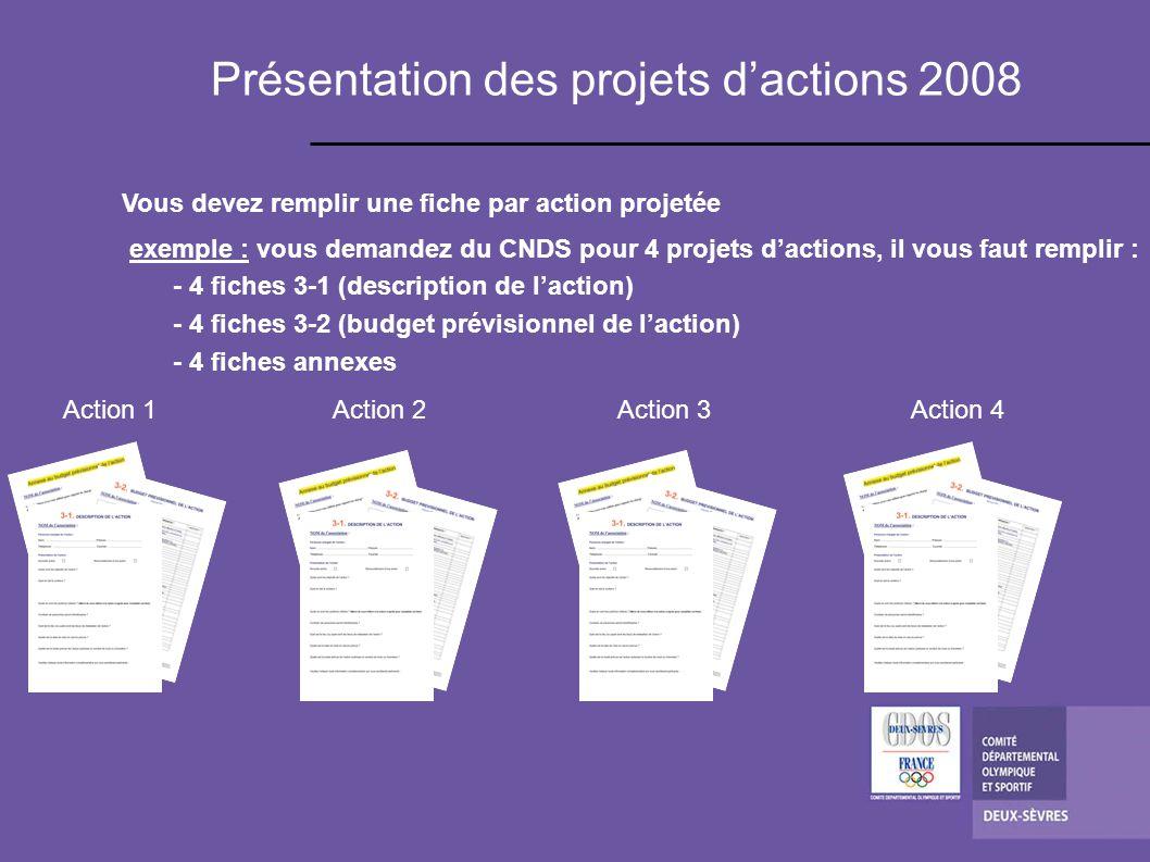 Présentation des projets d'actions 2008