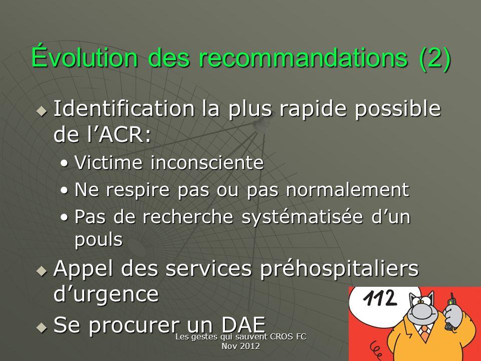 Évolution des recommandations (2)