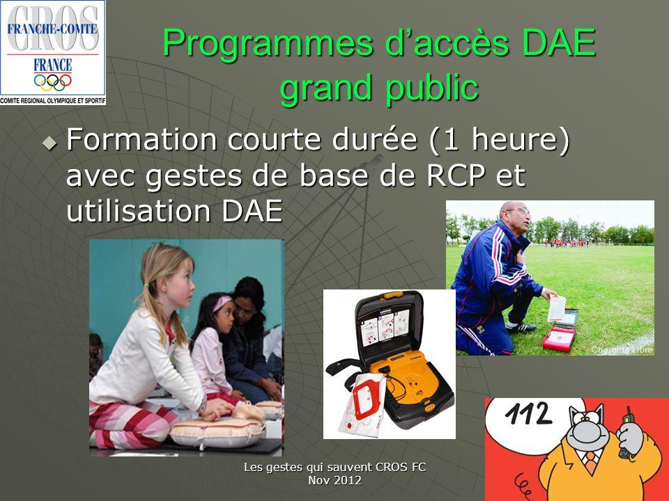 Programmes d'accès DAE grand public