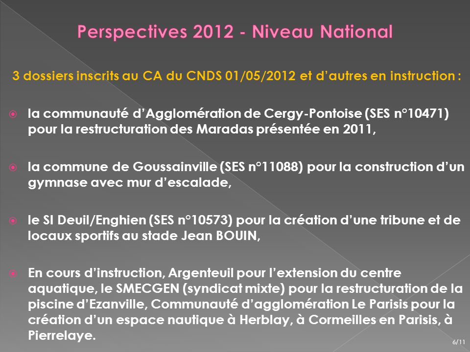 Perspectives 2012 - Niveau National