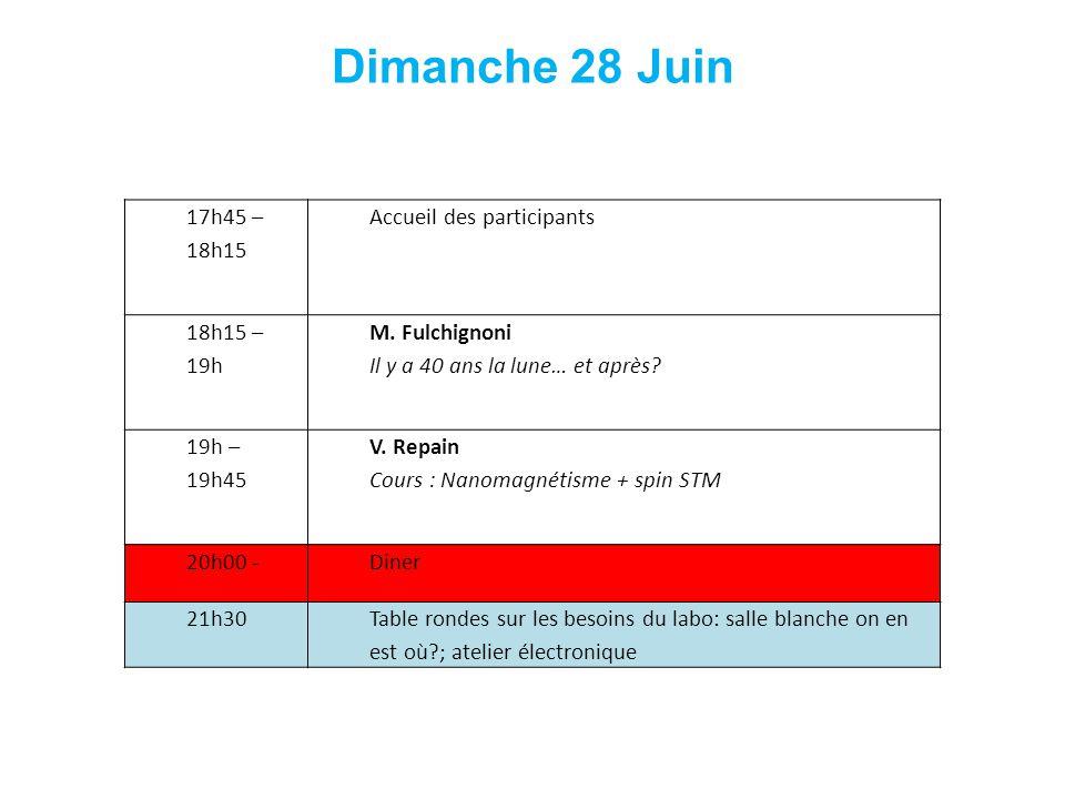 Dimanche 28 Juin 17h45 – 18h15 Accueil des participants 18h15 – 19h