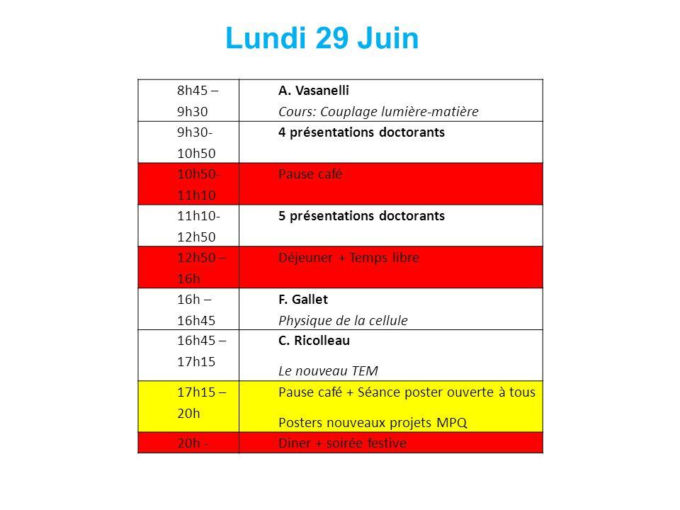 Lundi 29 Juin 8h45 – 9h30 A. Vasanelli Cours: Couplage lumière-matière