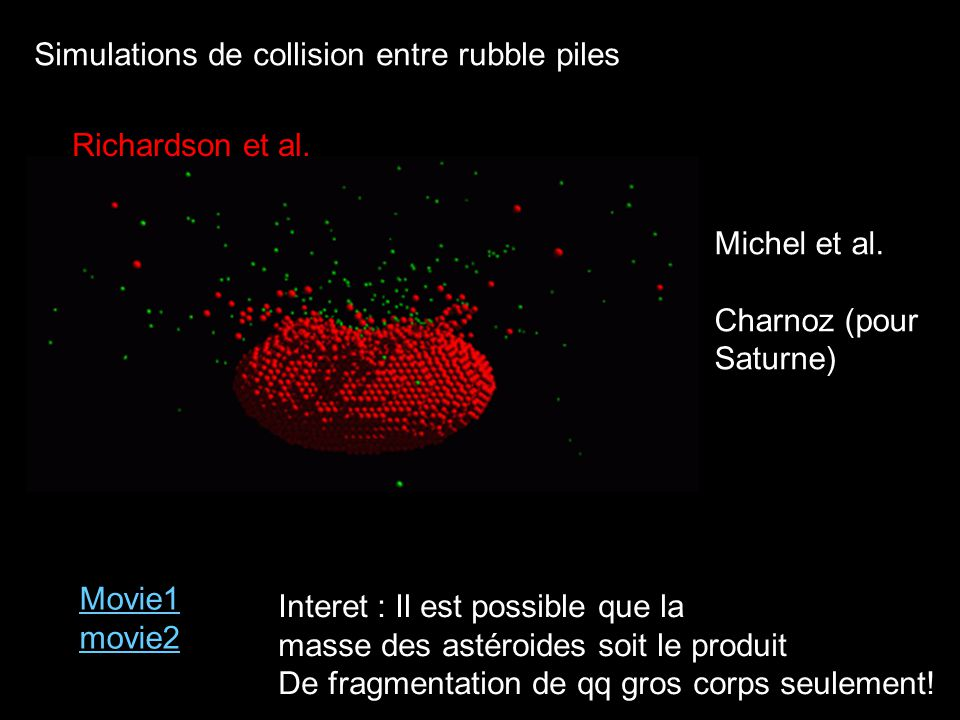 Simulations de collision entre rubble piles