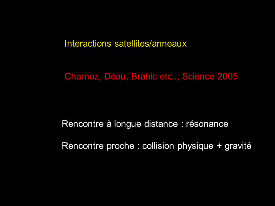 Interactions satellites/anneaux
