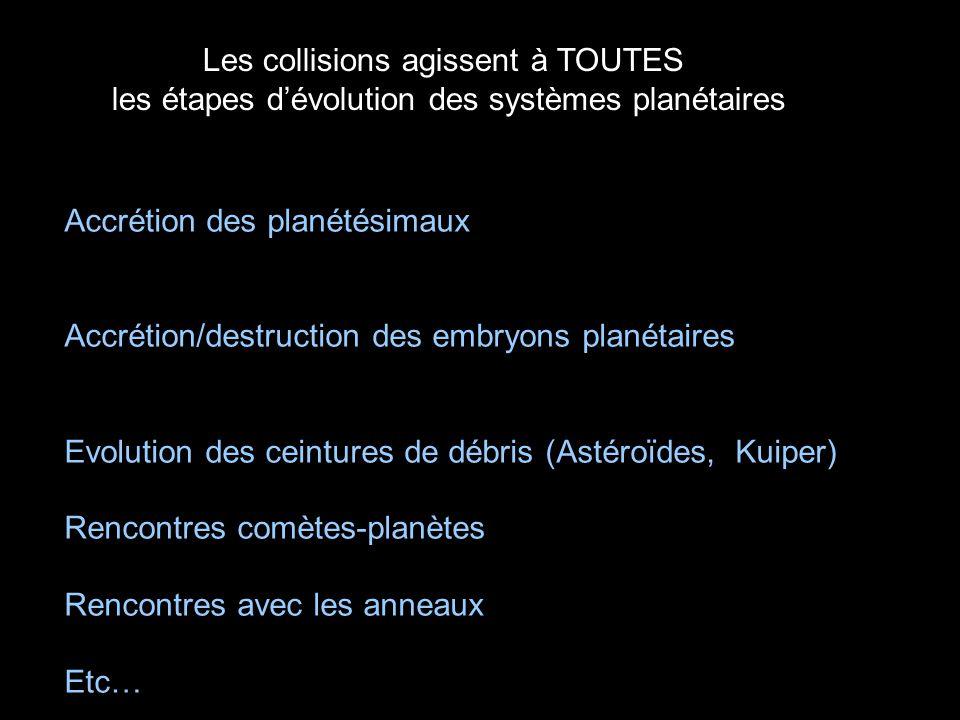 Les collisions agissent à TOUTES les étapes d'évolution des systèmes planétaires
