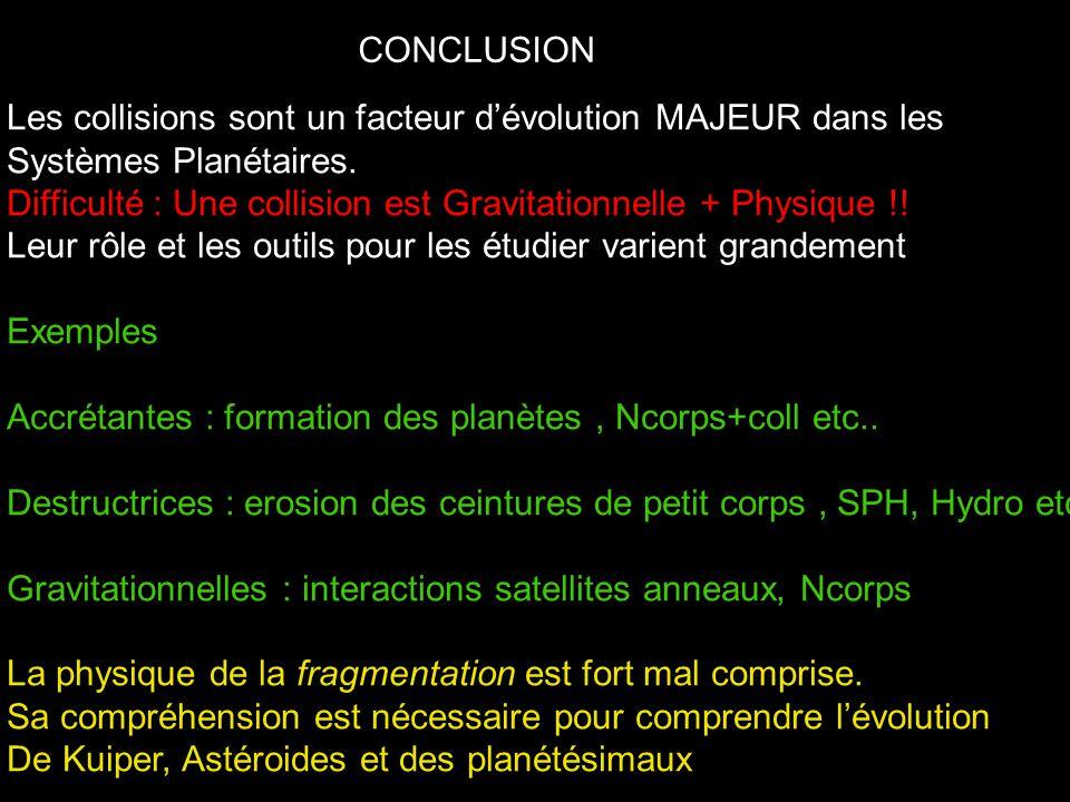 CONCLUSION Les collisions sont un facteur d'évolution MAJEUR dans les Systèmes Planétaires.