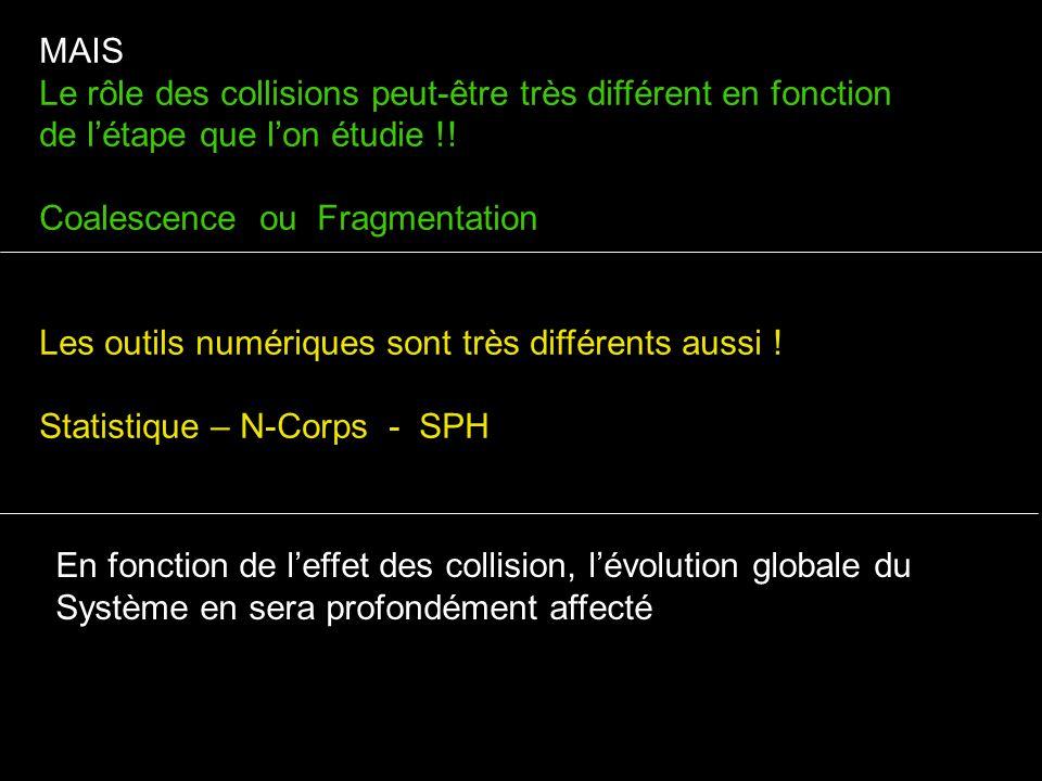 MAIS Le rôle des collisions peut-être très différent en fonction de l'étape que l'on étudie !! Coalescence ou Fragmentation.