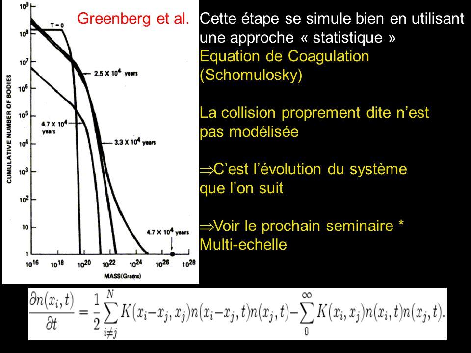 Greenberg et al. Cette étape se simule bien en utilisant. une approche « statistique » Equation de Coagulation.