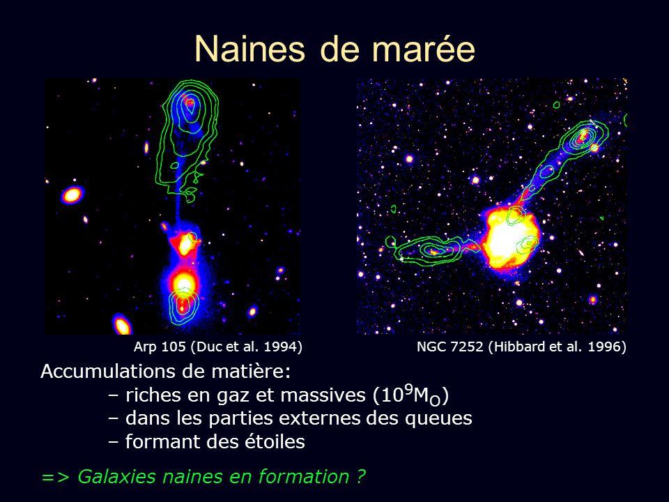 Naines de marée Arp 105 (Duc et al. 1994) NGC 7252 (Hibbard et al. 1996)