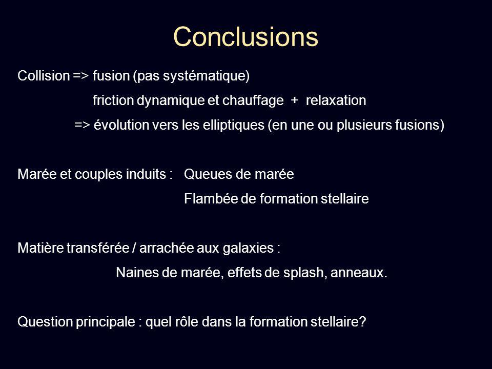 Conclusions Collision => fusion (pas systématique)