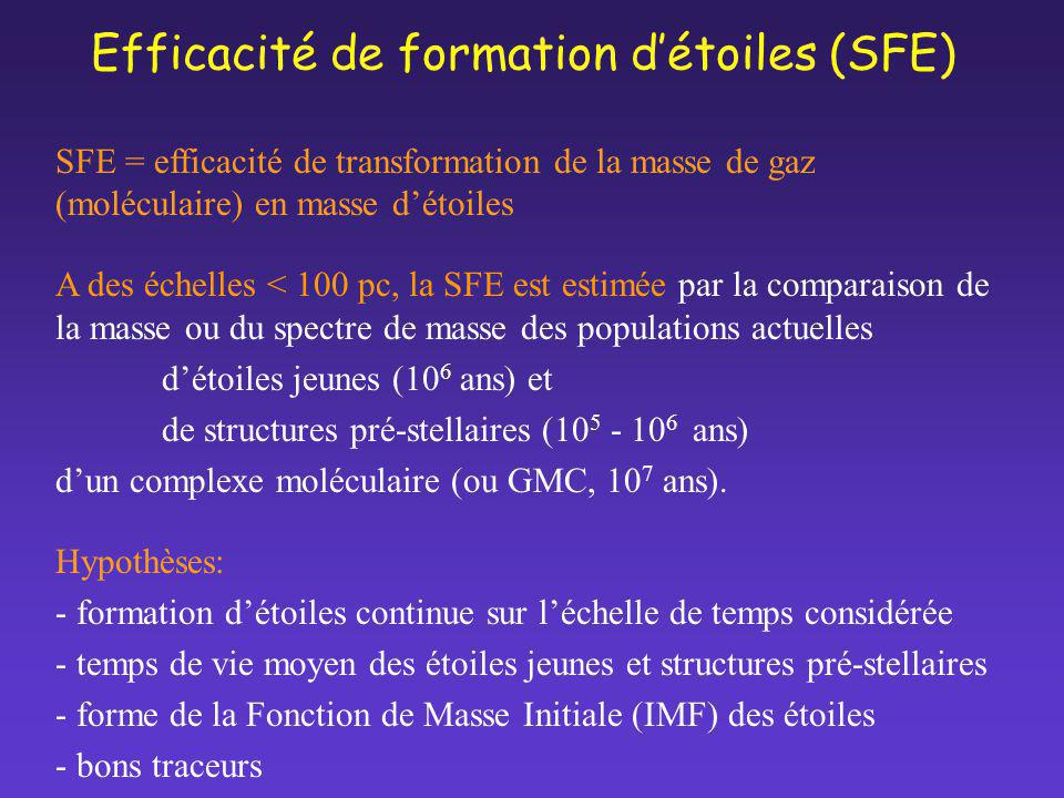 Efficacité de formation d'étoiles (SFE)