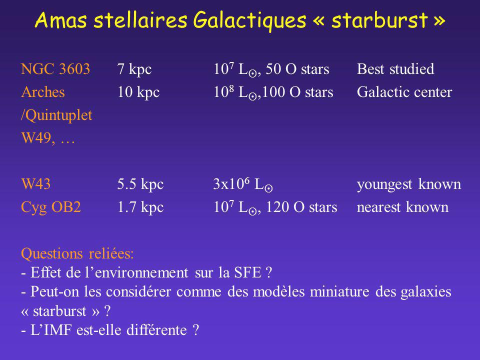 Amas stellaires Galactiques « starburst »