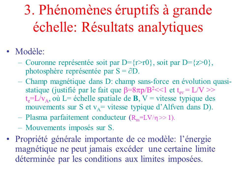 3. Phénomènes éruptifs à grande échelle: Résultats analytiques