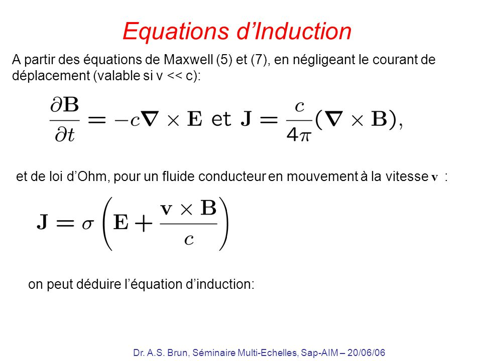 Equations d'Induction