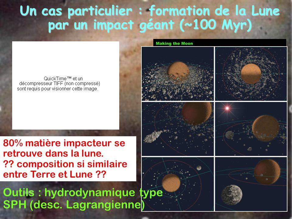 Un cas particulier : formation de la Lune par un impact géant (~100 Myr)