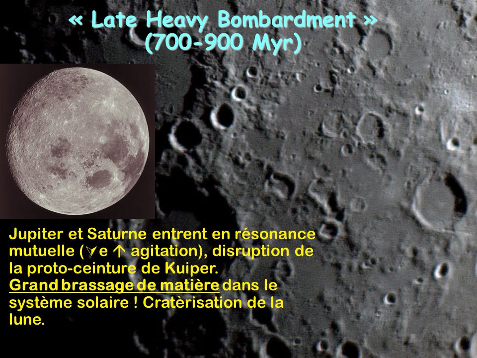 « Late Heavy Bombardment » (700-900 Myr)